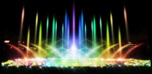 虹色に輝く光の大噴水